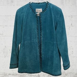 Linea by Louis Dell'Olio 1980's Turquoise Suede